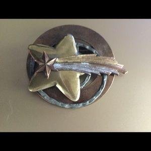 Copper shooting star brooch handmade